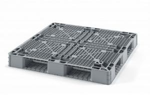 Пластиковый паллет 1200х800х160 мм перфорированный (закрытые полозья)